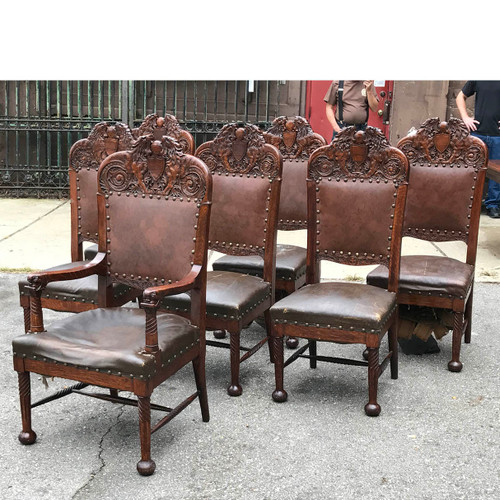 F17099 - Set of Six Antique Carved Quartersawn Oak Dining Chairs