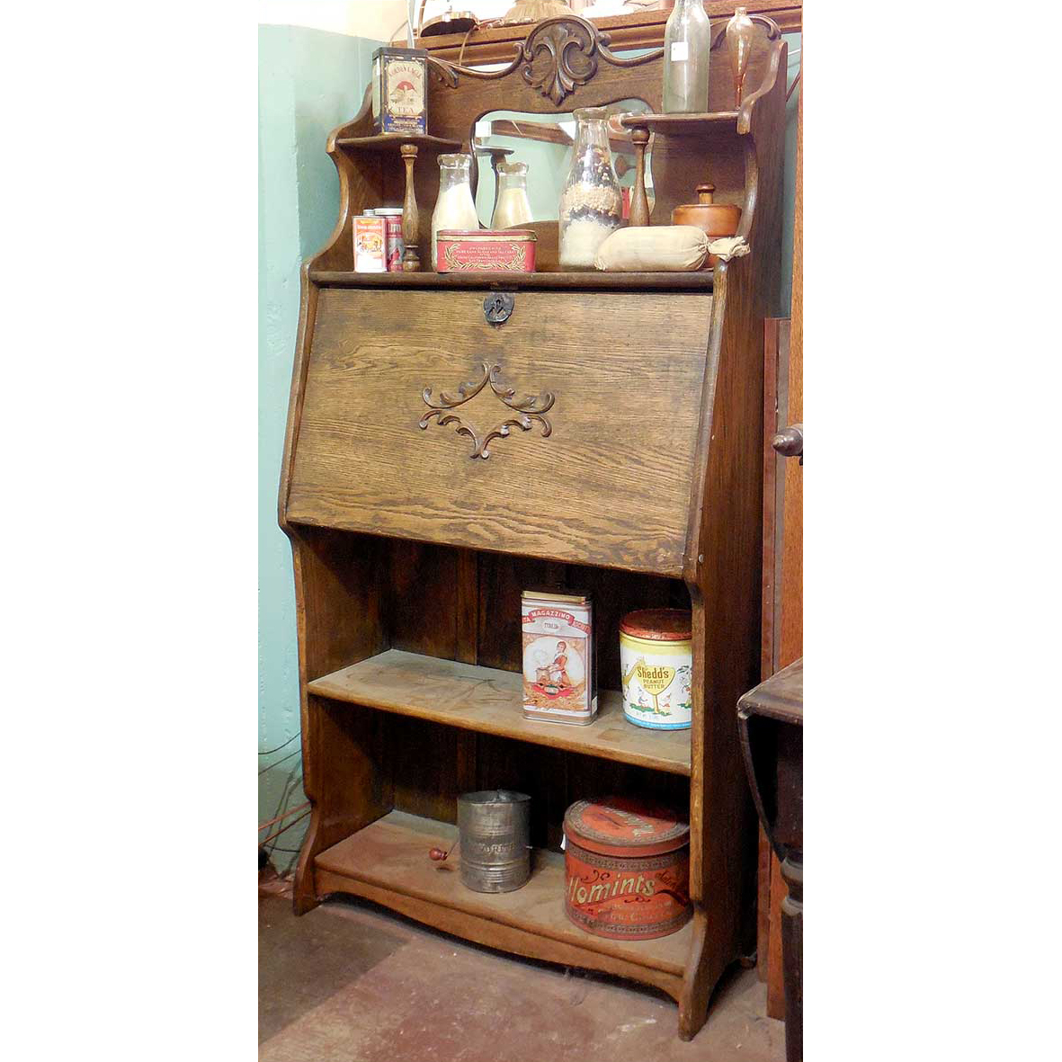 - F12156 - Antique Drop Front Oak Secretary Desk