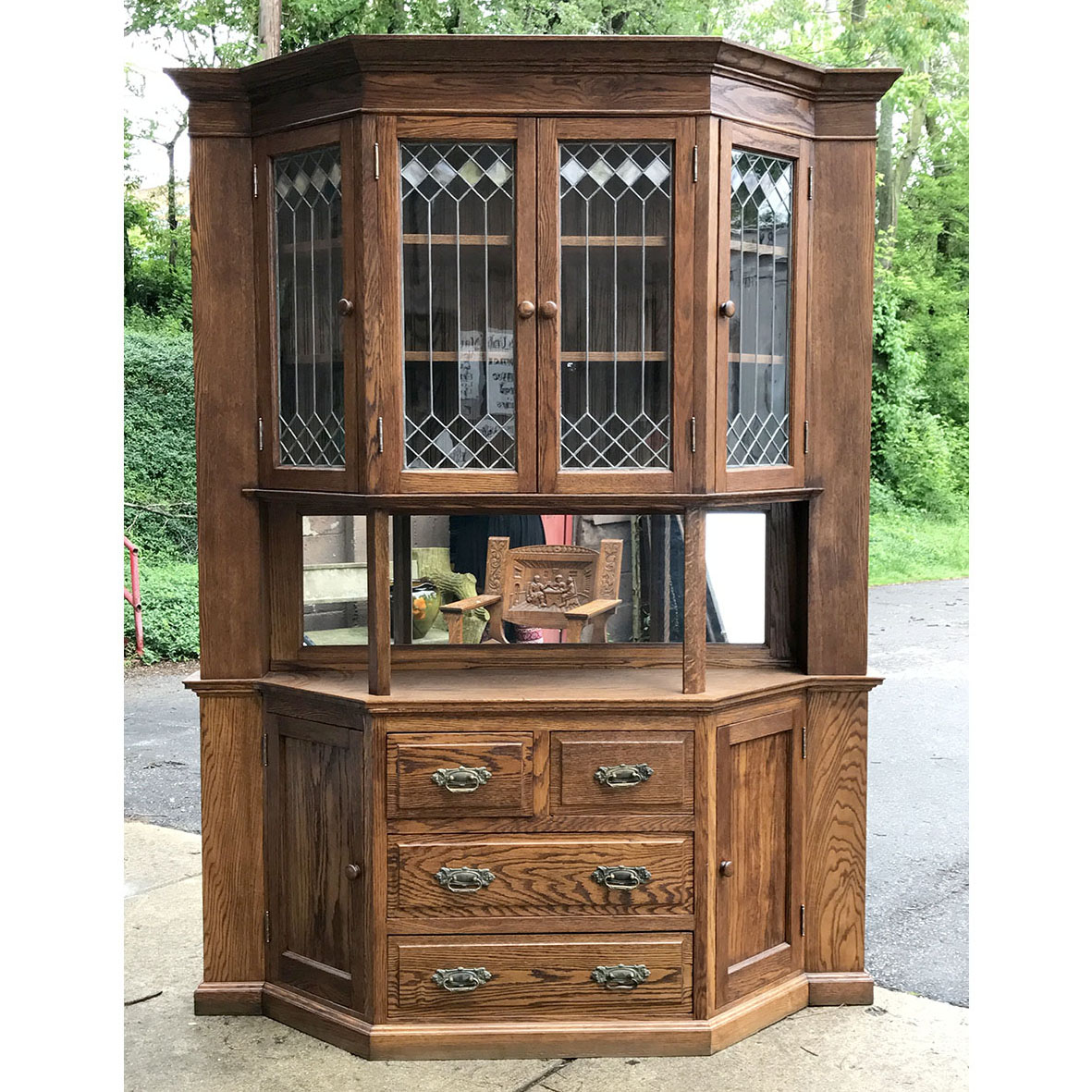 - F17049 - Antique Revival Period Oak Sideboard China Cabinet