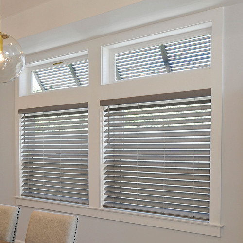 SmartPrivacy® Faux Wood Corded Blinds (SOLID COLORS)