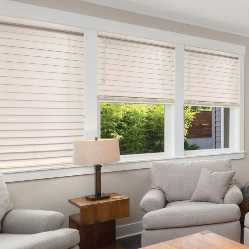 SmartPrivacy® Faux Wood Corded Blinds (PRINTED COLORS)