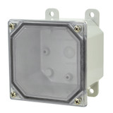 AMP443CC   Allied Moulded Products 4 x 4 x 3 Polycarbonate enclosure with 4-screw lift-off clear cover