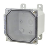AMP443CCH | Allied Moulded Products 4 x 4 x 3 Polycarbonate enclosure with 2-screw hinged clear cover