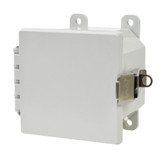 AMP443L   Allied Moulded Products 4 x 4 x 3 Polycarbonate enclosure with hinged cover and stainless-steel snap latch