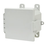 AMP443NL   Allied Moulded Products 4 x 4 x 3 Polycarbonate enclosure with hinged cover and nonmetal snap latch