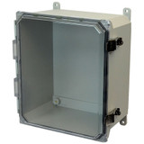 PJU12106CCL   Hammond Manufacturing 12 x 10 x 6 Fiberglass enclosure with hinged clear cover and snap latch