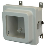 AM664RLW   Allied Moulded Products 6 x 6 x 4 Junction Box With Viewing Window Raised Metal Snap Latch Hinged Cover