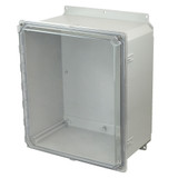 AMP1860CCHF | Allied Moulded Products 10 x 16 x 10 Polycarbonate enclosure with 2-screw hinged clear cover