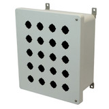 AM1206HP20 | Allied Moulded Products 12 x 10 x 6 Fiberglass enclosure with 2-screw hinged cover and 20 pushbutton holes