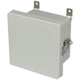 AM664L   6 x 6 x 4  Fiberglass enclosure with hinged cover and snap latch