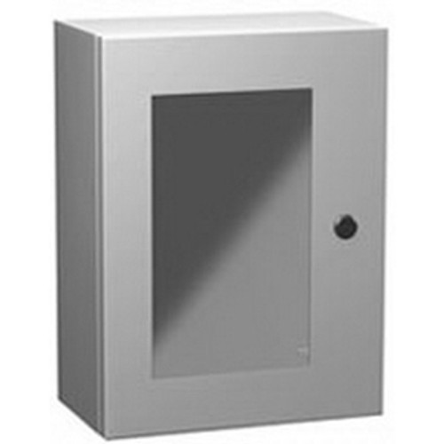 EN4SD24248WLG | Hammond Manufacturing 24 x 24 x 8 Single Door Enclosure with Window Light Gray