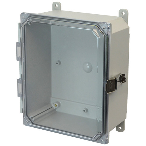 PCJ1084CCL | Hammond Manufacturing 10 x 8 x 4 Hinged Metal Snap Latch Clear Junction Box Cover