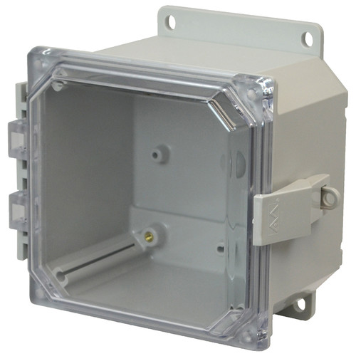 PCJ664CCNLF   Hammond Manufacturing 6 x 6 x 4 Hinged Nonmetal Snap Latch Clear Junction Box Cover