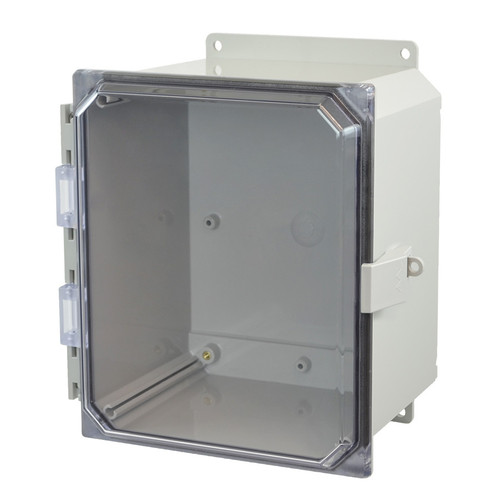 AMP1086CCNLF | Allied Moulded Products 10 x 8 x 6 Polycarbonate enclosure with hinged clear cover and nonmetal snap latch