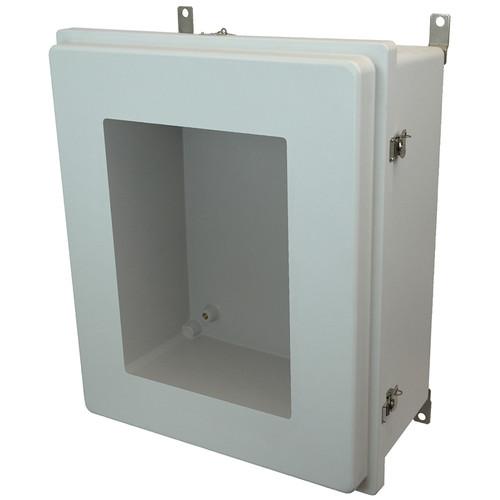 PJ242010RTW | Hammond Manufacturing 24 x 20 x 10 Fiberglass enclosure with raised hinged window cover and twist latch