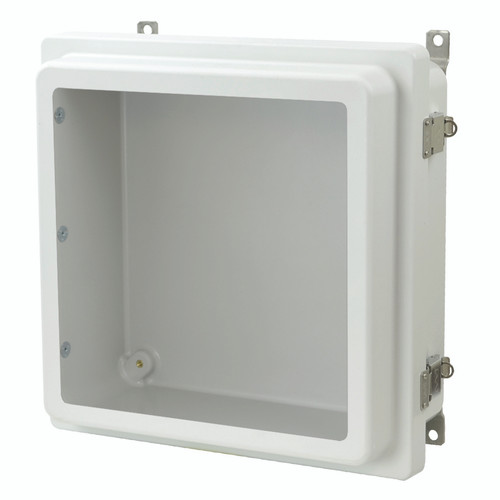 AM1224RLW - Metal Snap Latch Hinged Raised Window Cover Enclosure