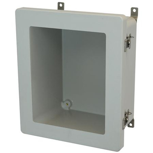 AM1206TW | Allied Moulded Products 12 X 10 X 6 Fiberglass enclosure with hinged window cover and twist latch