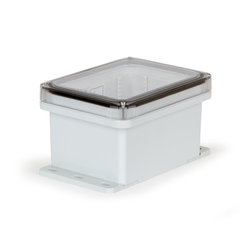 UPCT080604F | Ensto 8 x 6 x 4 Polycarbonate enclosure with 4-screw lift-off clear cover