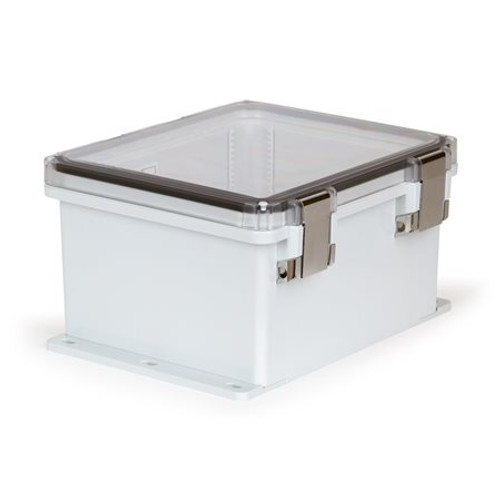 UPCT121006HMLF | Ensto 12 x 10 x 6 Polycarbonate Enclosure with Hinged Cover and Metal Snap Latch