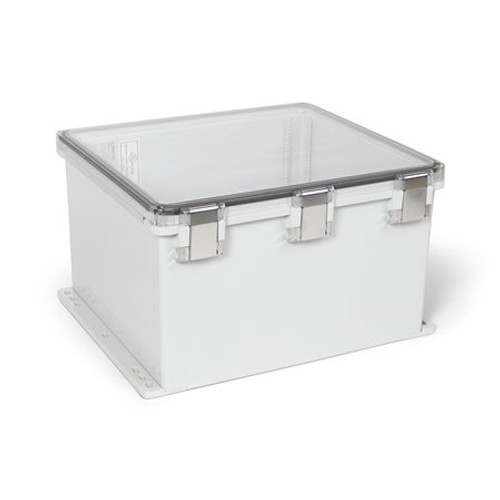 UPCT181610HMLF | Ensto 18 x 16 x 10 Polycarbonate enclosure with hinged clear cover and snap latch