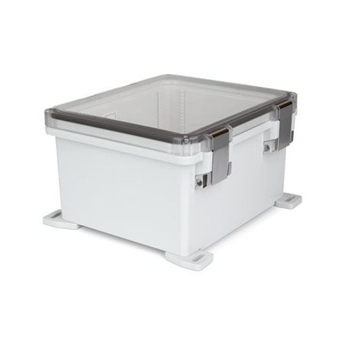 UPCT121006HML | Ensto 12 x 10 x 6 Polycarbonate Enclosure with Hinged Cover and Metal Snap Latch