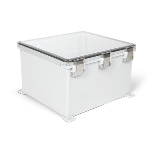 UPCT181610HML | Ensto 18 x 16 x 10 Polycarbonate enclosure with hinged clear cover and snap latch