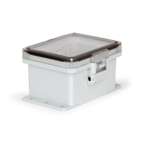 UPCT080604HNLF | Ensto 8 x 6 x 4 Polycarbonate enclosure with hinged clear cover and nonmetal snap latch