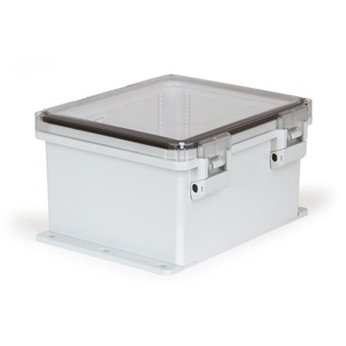 UPCT121006HNLF | Ensto 12 x 10 x 6 Polycarbonate Enclosure with Hinged Cover and Nonmetal Snap Latch