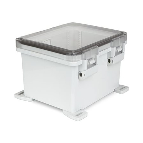 UPCT100806HNL | Ensto 10 x 8 x 6 Polycarbonate Enclosure with Hinged Cover and Nonmetal Snap Latch