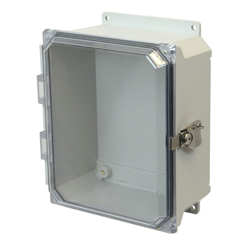 AMU864CCTF | Allied Moulded Products 8 x 6 x 4 Fiberglass enclosure with hinged clear cover and twist latch