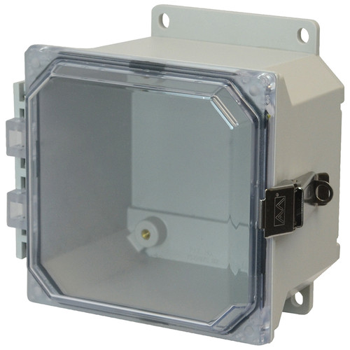 PJU664CCLF | Hammond Manufacturing 6 x 6 x 4 Fiberglass enclosure with hinged clear cover and snap latch