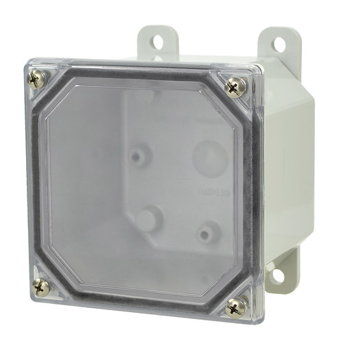 AMP443CC | Allied Moulded Products 4 x 4 x 3 Polycarbonate enclosure with 4-screw lift-off clear cover