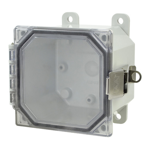 AMP443CCL | 4 x 4 x 3 Polycarbonate enclosure with 2-screw hinged clear cover