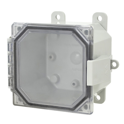 AMP443CCNL | Allied Moulded Products 4 x 4 x 3 Polycarbonate enclosure with hinged clear cover and nonmetal snap latch