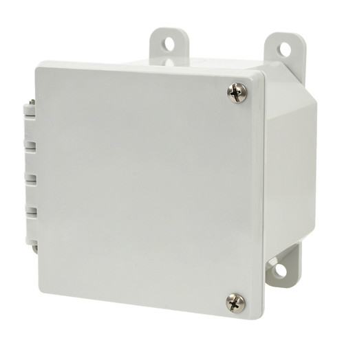 AMP443H | Allied Moulded Products 4 x 4 x 3 Polycarbonate enclosure with 2-screw hinged cover