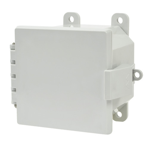 AMP443NL | Allied Moulded Products 4 x 4 x 3 Polycarbonate enclosure with hinged cover and nonmetal snap latch