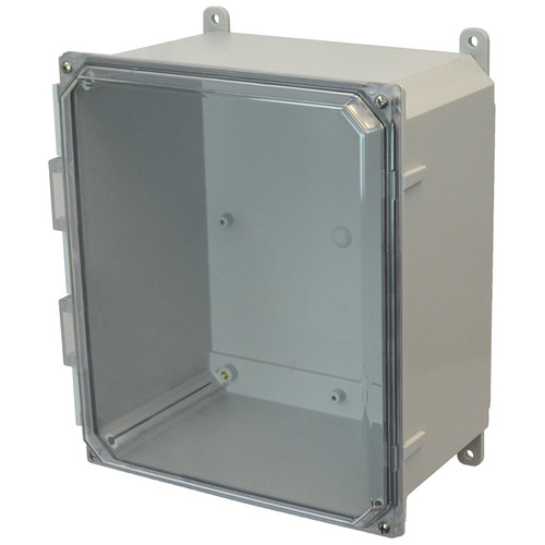 AMP1226CC | Allied Moulded Products 12 x 12 x 6 Polycarbonate enclosure with 4-screw lift-off clear cover