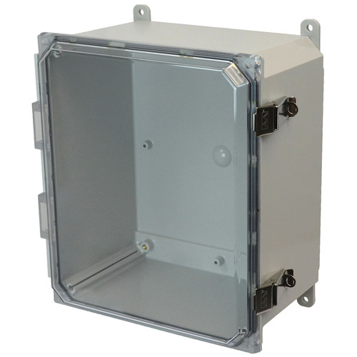 AMP1226CCL | Allied Moulded Products 12 x 12 x 6 Polycarbonate enclosure with hinged clear cover and stainless-steel snap latch
