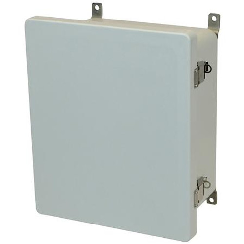 AM1426L | 14 x 12 x 6 Fiberglass enclosure with hinged cover and snap latch