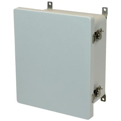 AM1648T | 16 x 14 x 8 Fiberglass enclosure with hinged cover and twist latch