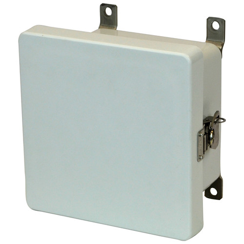 AM664T | Allied Moulded Products 6 x 6 x 4 Junction Box Metal Twist Latch Hinged Cover