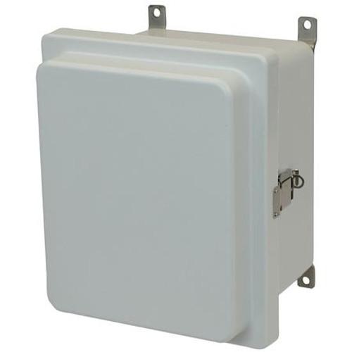 AM864RL | 8 x 6 x 4 Fiberglass enclosure with raised hinged cover and snap latch