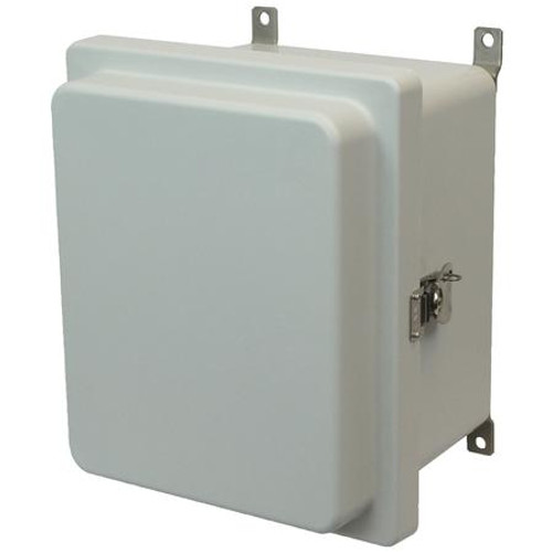 AM864RT | 8 x 6 x 4 Fiberglass enclosure with raised hinged cover and twist latch