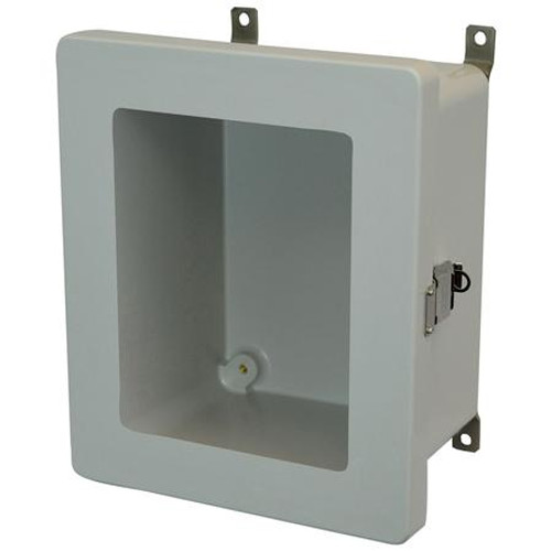 AM864LW | 8 x 6 x 4 Fiberglass enclosure with hinged window cover and snap latch