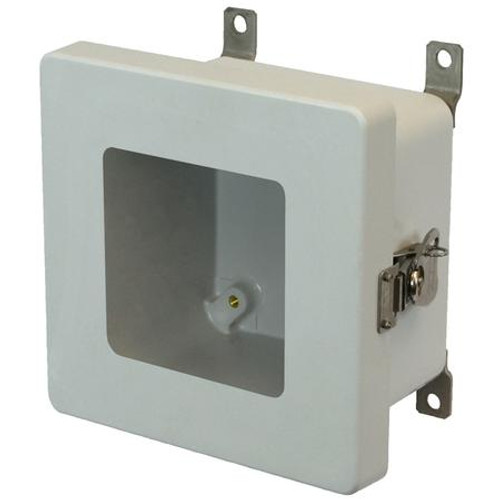 AM664TW | 6 x 6 x 4 Fiberglass enclosure with hinged window cover and twist latch