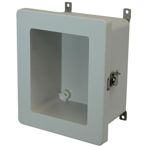 AM864TW | 8 x 6 x 4 Fiberglass enclosure with hinged window cover and twist latch