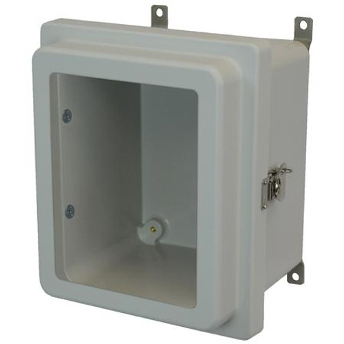 AM864RTW | 8 X 6 X 4 Fiberglass enclosure with raised hinged window cover and twist latch