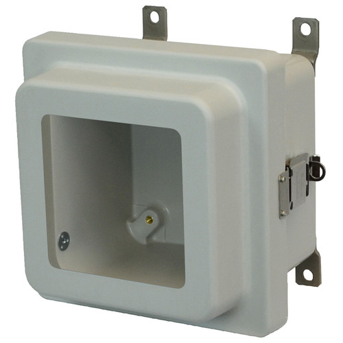 AM664RLW | Allied Moulded Products 6 x 6 x 4 Junction Box With Viewing Window Raised Metal Snap Latch Hinged Cover