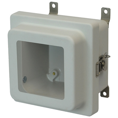 AM664RTW | Allied Moulded Products 6 x 6 x 4 Junction Box With Viewing Window Raised Metal Twist Latch Hinged Cover
