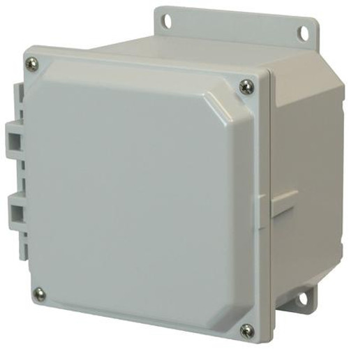 AMP664F   6 x 6 x 4 Polycarbonate enclosure with 4-screw lift-off cover